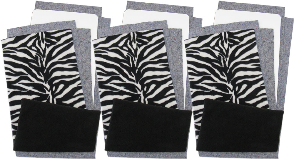 Zebra Fleece Flippers, set of 3
