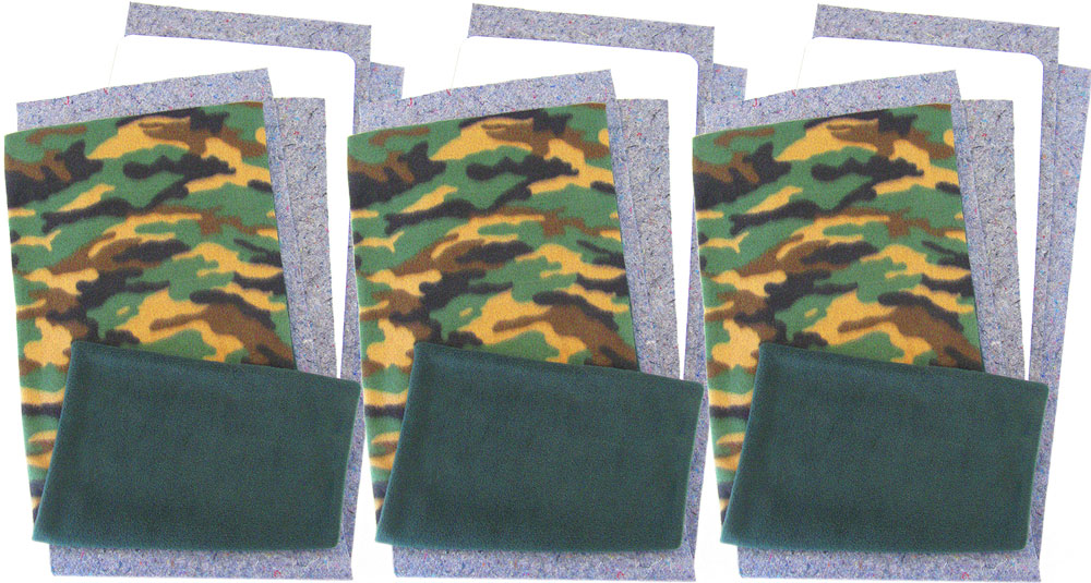 Green Camo Fleece Flippers, set of 3