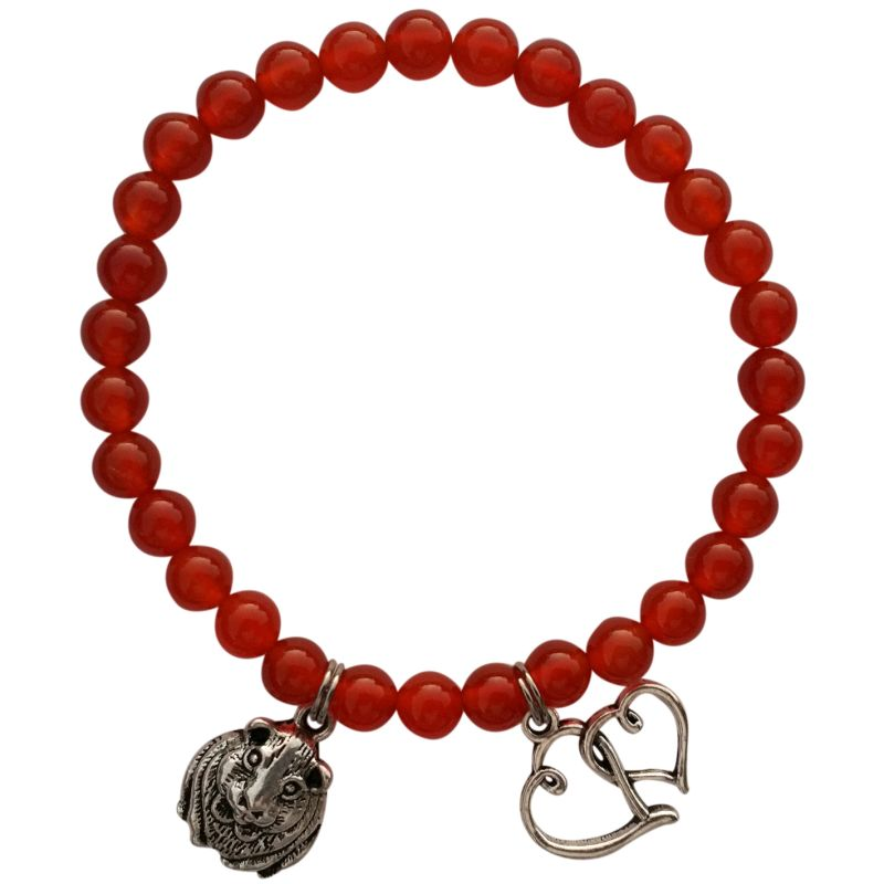 Red Agate Animystics Charm Bracelet for guinea pig lovers