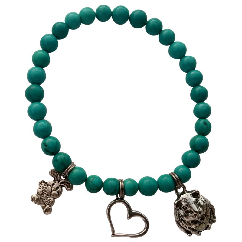 Turquoise Animystic Gemstone Charm Bracelet for Guinea Pig People