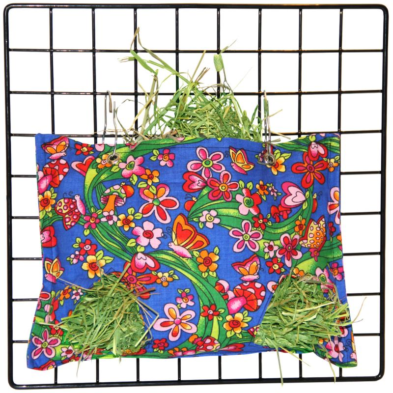 Hay Bag in a beautiful Garden on Blue Fabric for Guinea Pig Cages