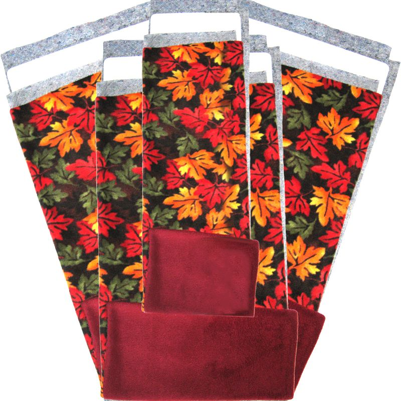 Tossed Leaves Fleece Flippers in a set of 5