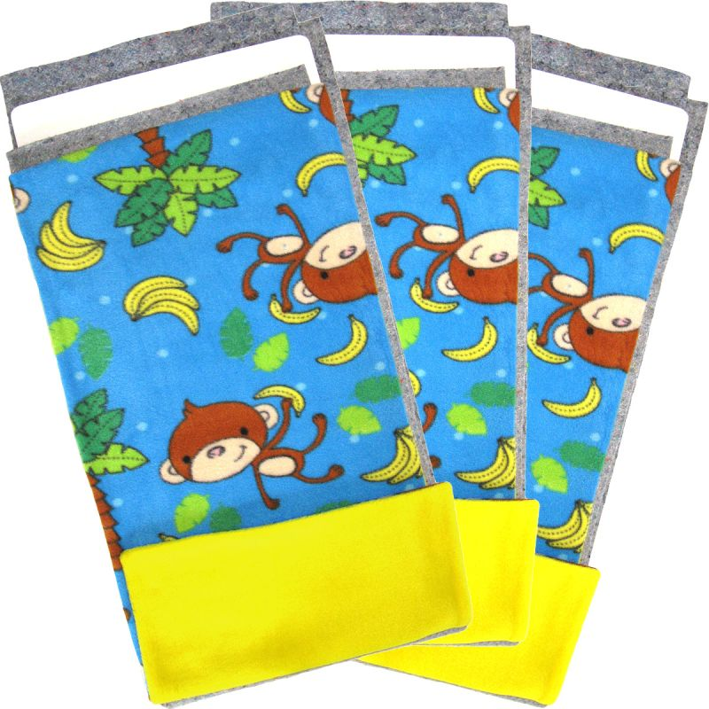 Tossed Monkeys Fleece Flippers in a set of 3