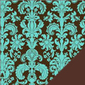 Blue Damask Fleece Fabric