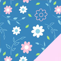 Blue Floral Fleece Fabric