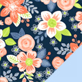Orange Flowers Fleece Fabric
