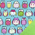Sketched Owls Fleece Fabric