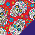 Sugar Skulls on Red Fleece Fabric