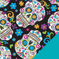 Sugar Skulls on Black Fleece Fabric