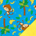 Tossed Monkeys Fleece Fabric