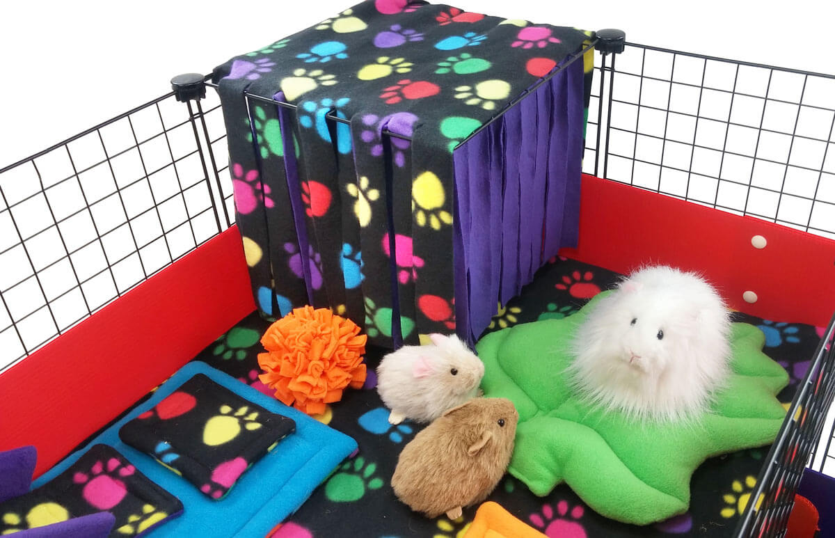 Piggies with Rainbow Paws Fleece Forest
