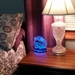Guinea Pig Night Light - Ornate, Happy Hippy Piggy Lamp on a side table bedroom