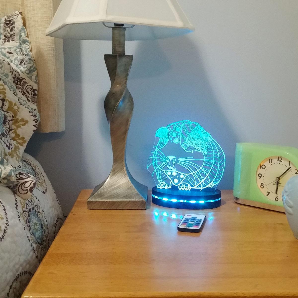 Guinea Pig Ornate Night Light, Happy Hippy Piggy Lamp