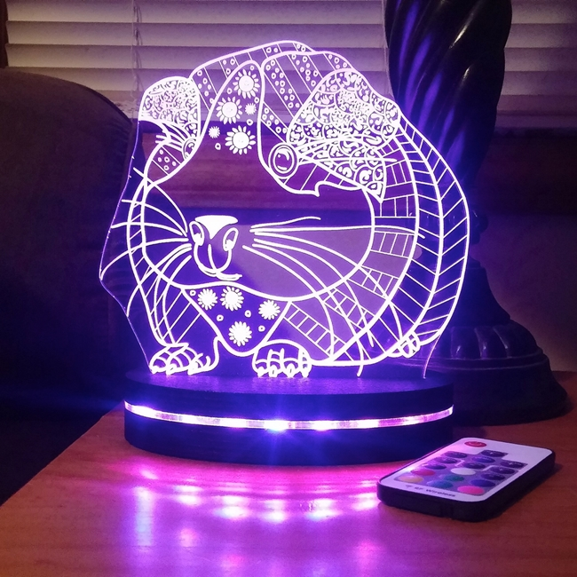 Guinea Pig Night Light - Ornate, Happy Hippy Piggy Lamp