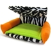 Flippin' Fun Futon! - Zebra with Orange Arms and Green Pad