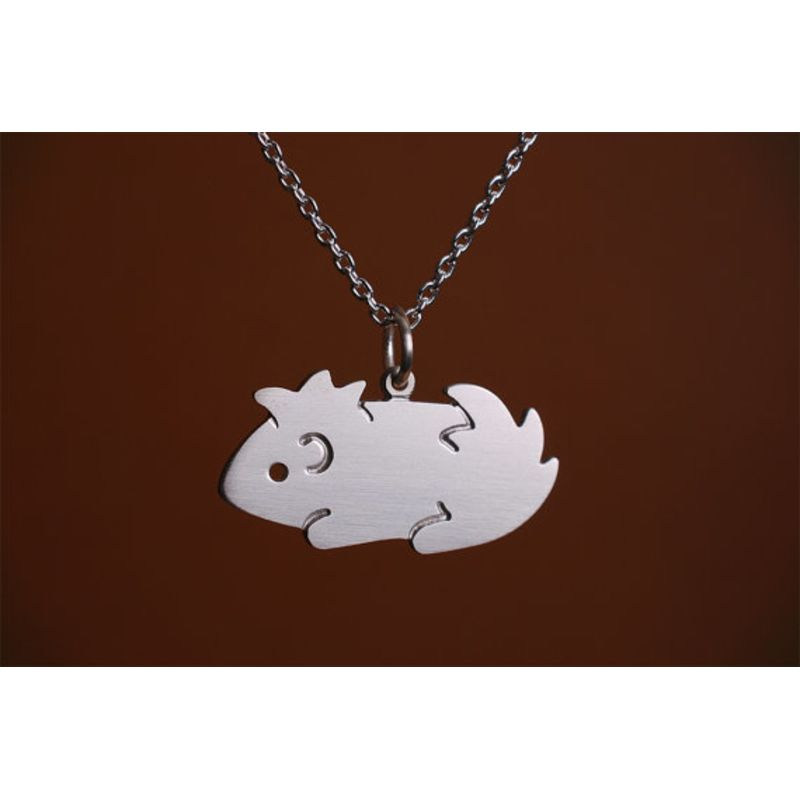 Guinea Pig Sterling Silver Necklace of an Abysinian