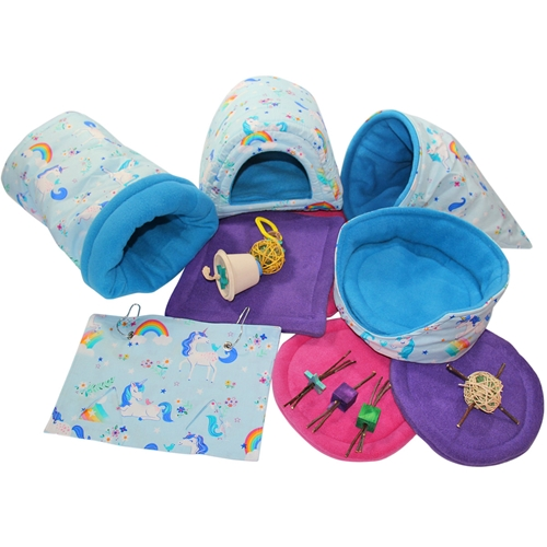 "Whimsical ""Deluxe"" Blue Unicorns Cozies and Toy Bundle for Guinea Pigs and Other Small Animals"
