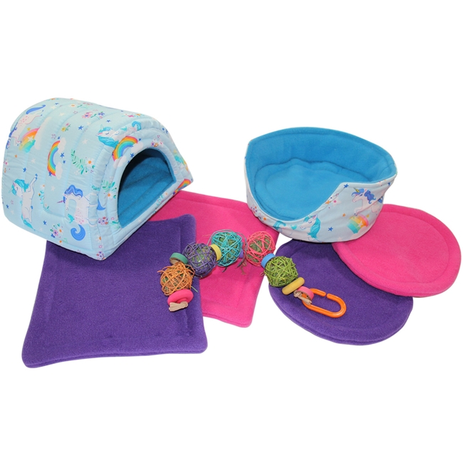 "Magical ""Large"" Blue Unicorns Bed and Toy Bundle for Guinea Pigs and Other Small Animals"