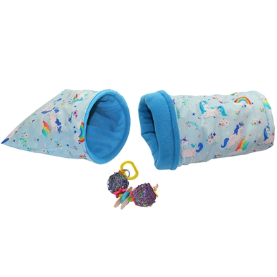 "Fanciful ""Small"" Blue Unicorns Cozy and Toy Bundle for Guinea Pigs and Other Small Animals"