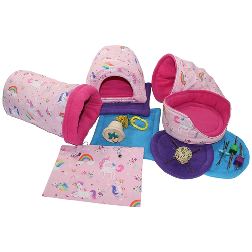Deluxe Pink Unicorns Cozy and Toy Bundle for Guinea Pigs and Other Small Animals