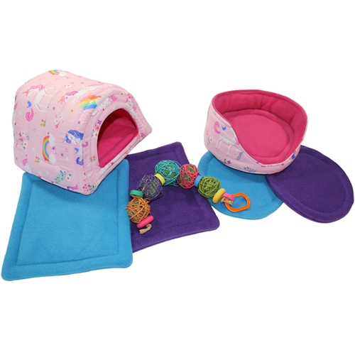 Large Pink Unicorns Cozy and Toy Bundle for Guinea Pigs and Other Small Animals