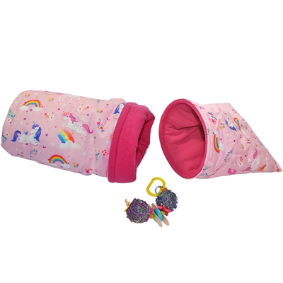 Small Pink Unicorns Bed and Toy Bundle for Guinea Pigs and Other Small Animals