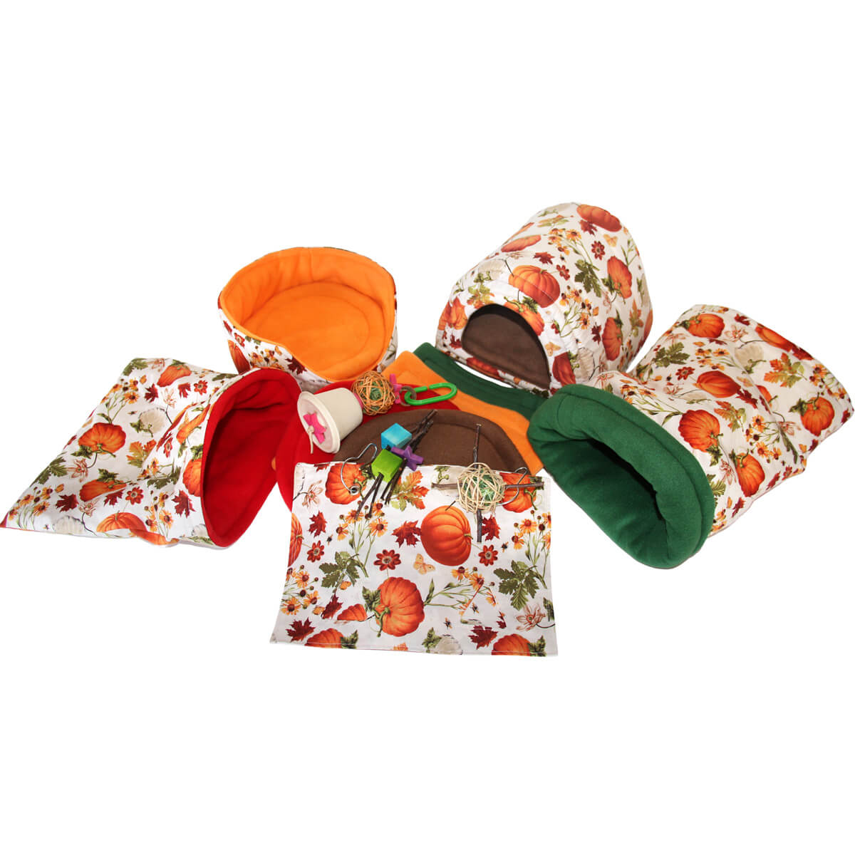 Deluxe Pumpkin Harvest Cozy and Toy Bundle for Guinea Pigs and Other Small Animals