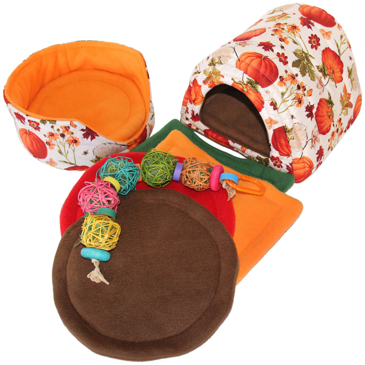 Large Pumpkin Harvest Cozy and Toy Bundle for Guinea Pigs and Other Small Animals