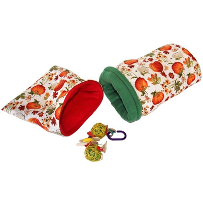 Small Pumpkin Harvest Bed and Toy Bundle for Guinea Pigs and Other Small Animals