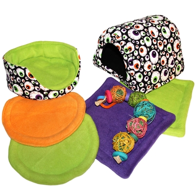 Large Spooky Eyes Cozy and Toy Bundle for Guinea Pigs and Other Small Animals