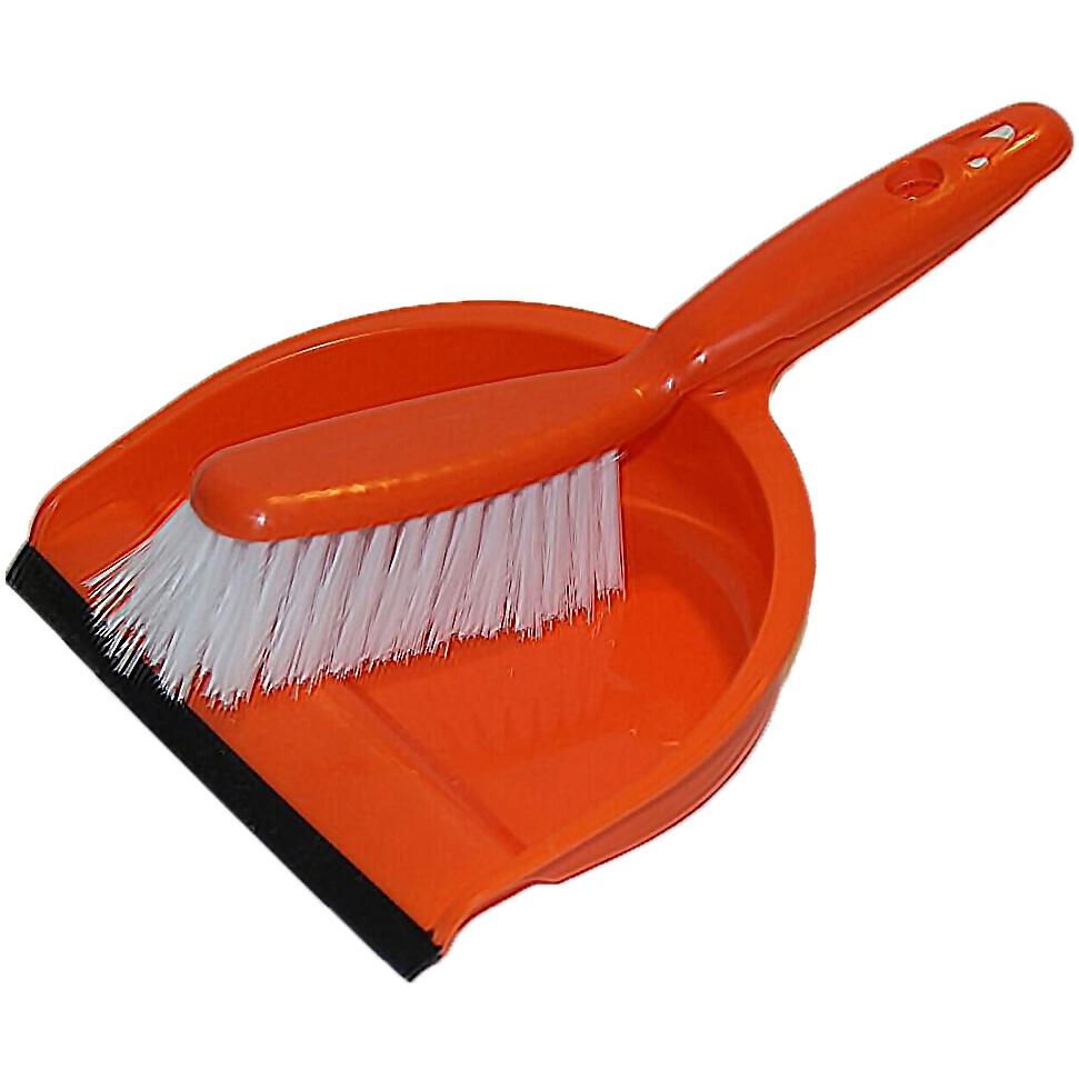 orange dustpan and broom