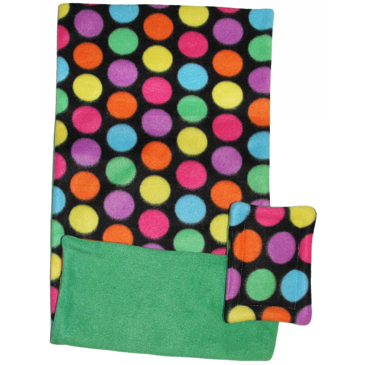 Fleece Flipper Case for Narrow Loft in Bold Dots Green
