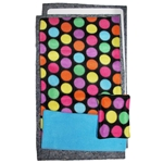 Narrow Upper Loft Fleece Flipper Set in Bold Dots Blue