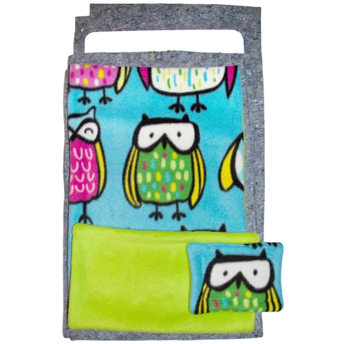 Narrow Upper Loft Fleece Flipper Set in Sketched Owls