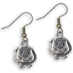 Guinea Pig Wire Earrings in Pewter - Short-haired guinea pig