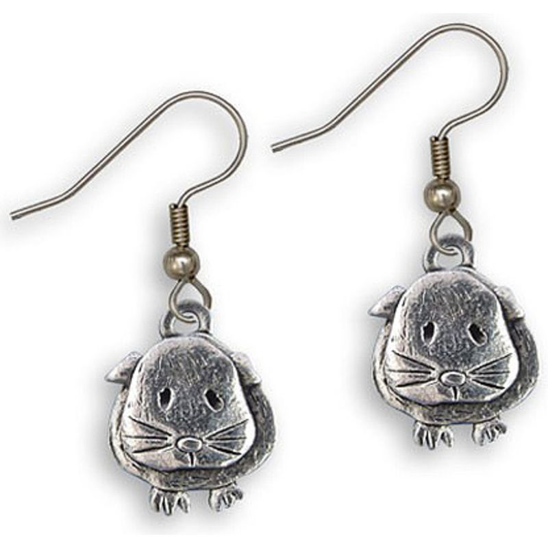 Guinea Pig Wire Earrings - Pewter - Short Hair