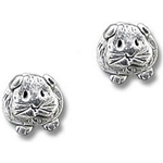 Guinea Pig Post Earrings in Pewter - Short-haired guinea pig
