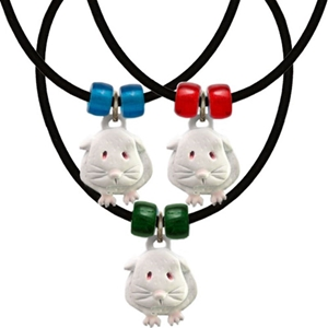 Guinea pig necklaces in white enamel