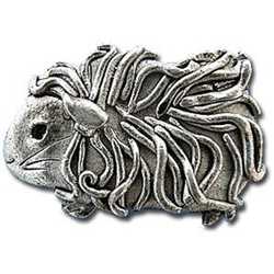 Guinea Pig Pin in Pewter - Long-haired guinea pig