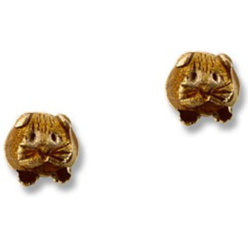 Guinea Pig Post Earrings in Brown Enamel - Short-haired guinea pig