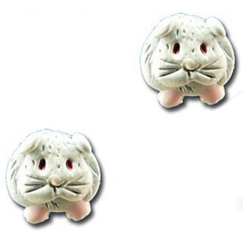 Guinea Pig Post Earrings in White Enamel - Short-haired guinea pig
