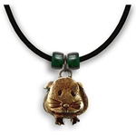 Guinea Pig Necklace in Brown Enamel - Short-haired guinea pig with red beads