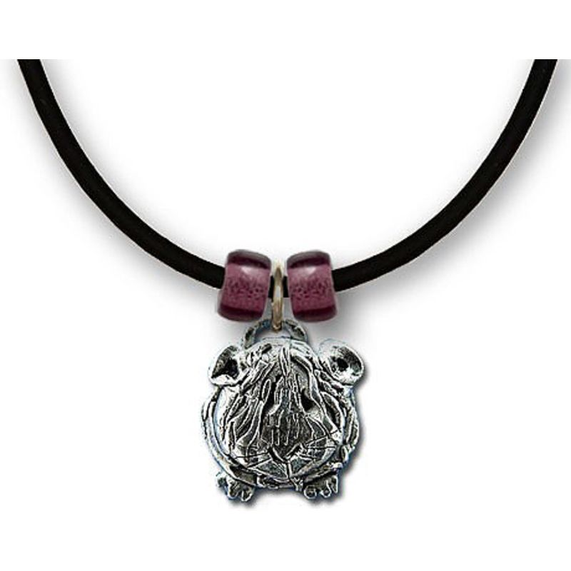 Guinea Pig Necklace in Pewter - Long-haired guinea pig with red beads