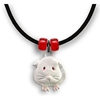 Guinea Pig Necklace in White Enamel - Short-haired guinea pig with red beads