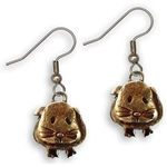 Guinea Pig Wire Earrings in Brown Enamel - Short-haired guinea pig