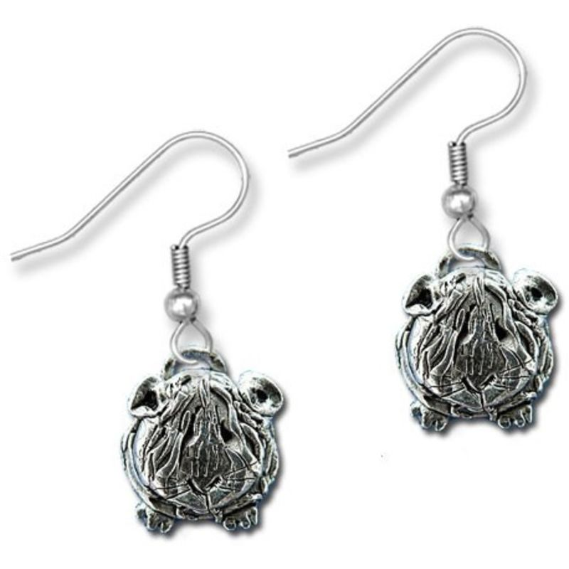 Guinea Pig Wire Earrings in Pewter - Long-haired guinea pig