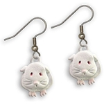 Guinea Pig Wire Earrings in White Enamel - Short-haired guinea pig
