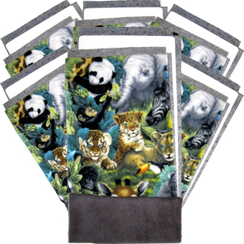 Set of 6 Fleece Flippers in the Jungle Print