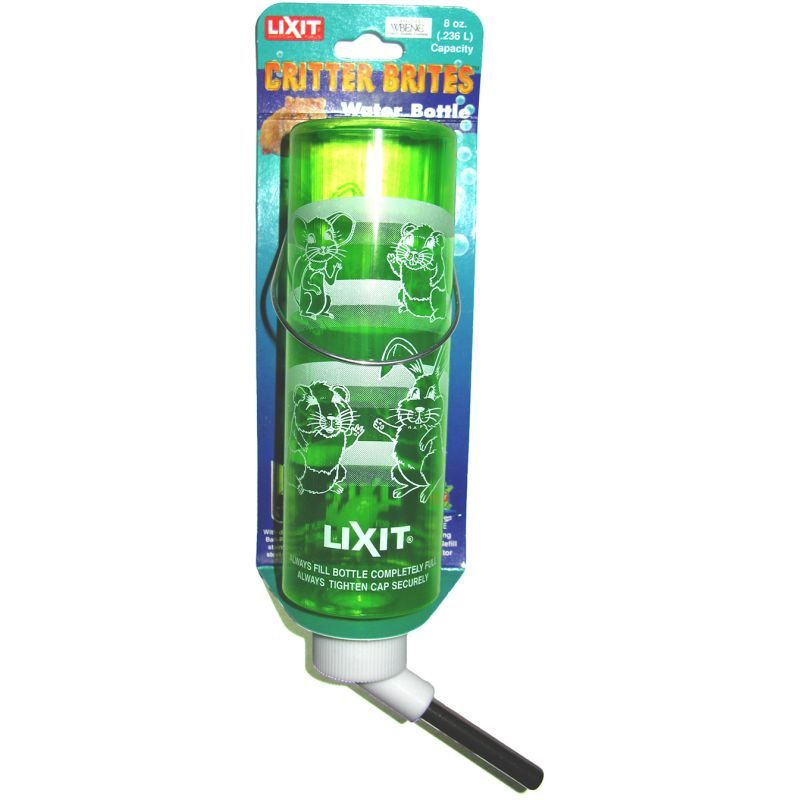 Green 8oz Lixit Water Bottle - Critter Brite