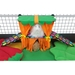 Piggy Perch in Bold Dots with Green Scallop, Orange Drape and Fringe